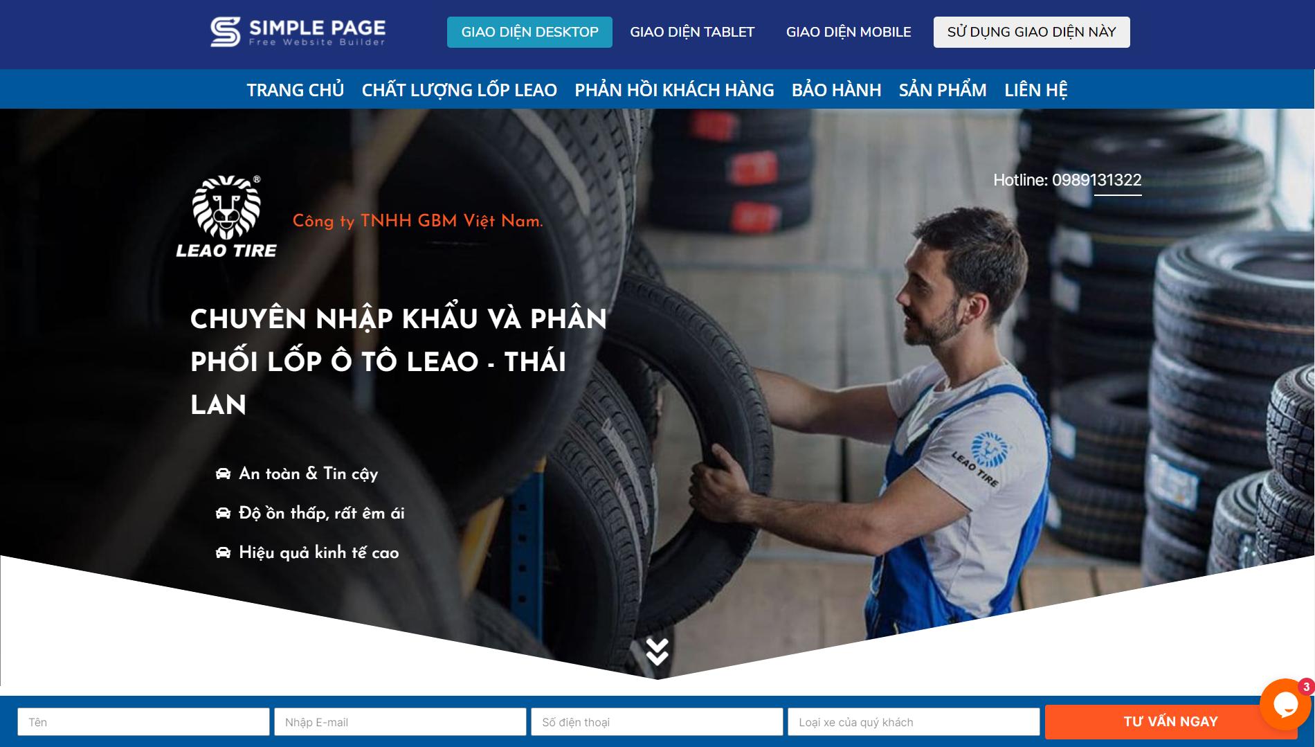 Mẫu landing page dịch vụ vận tải