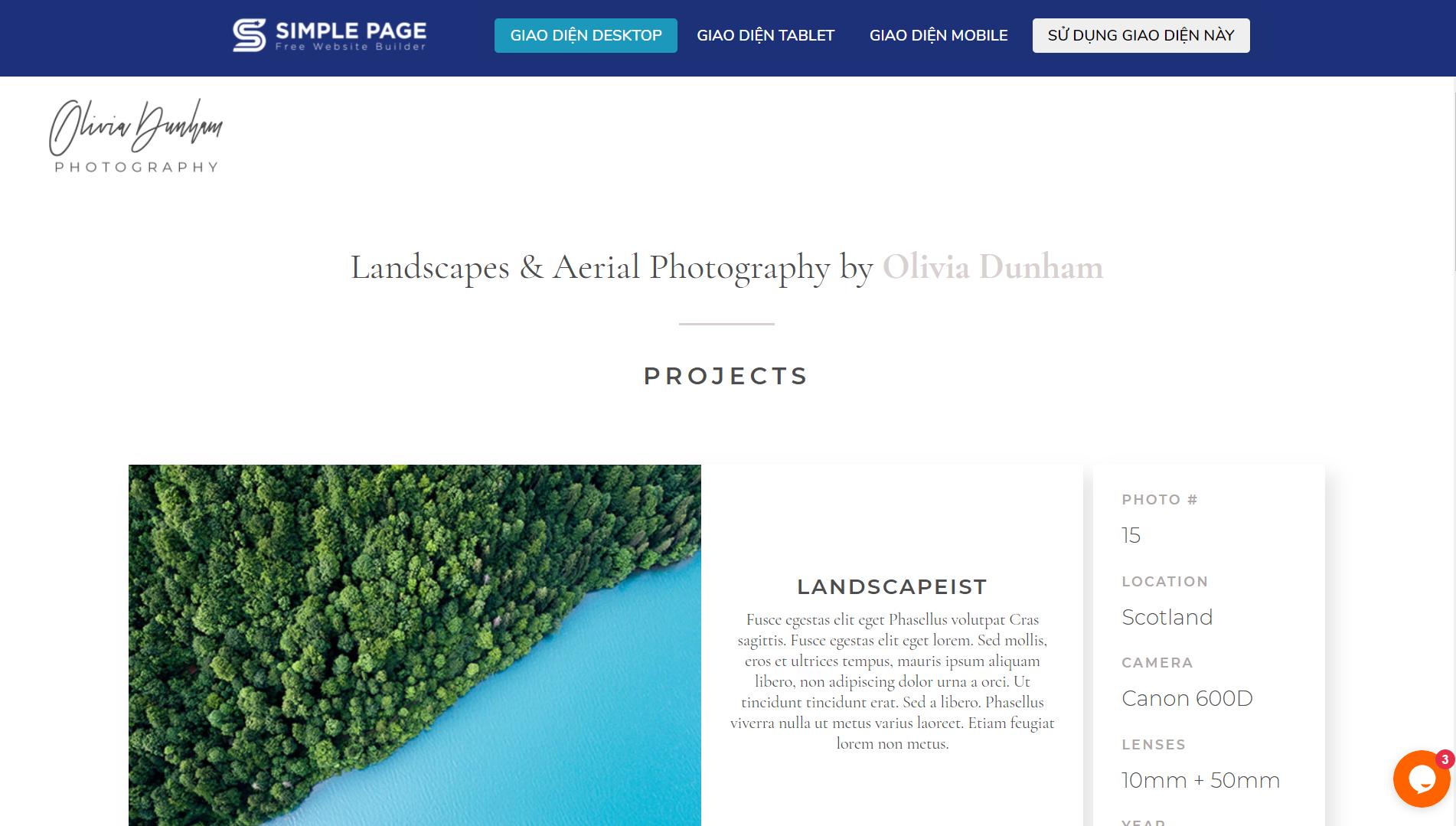 Mẫu landing page portfolio