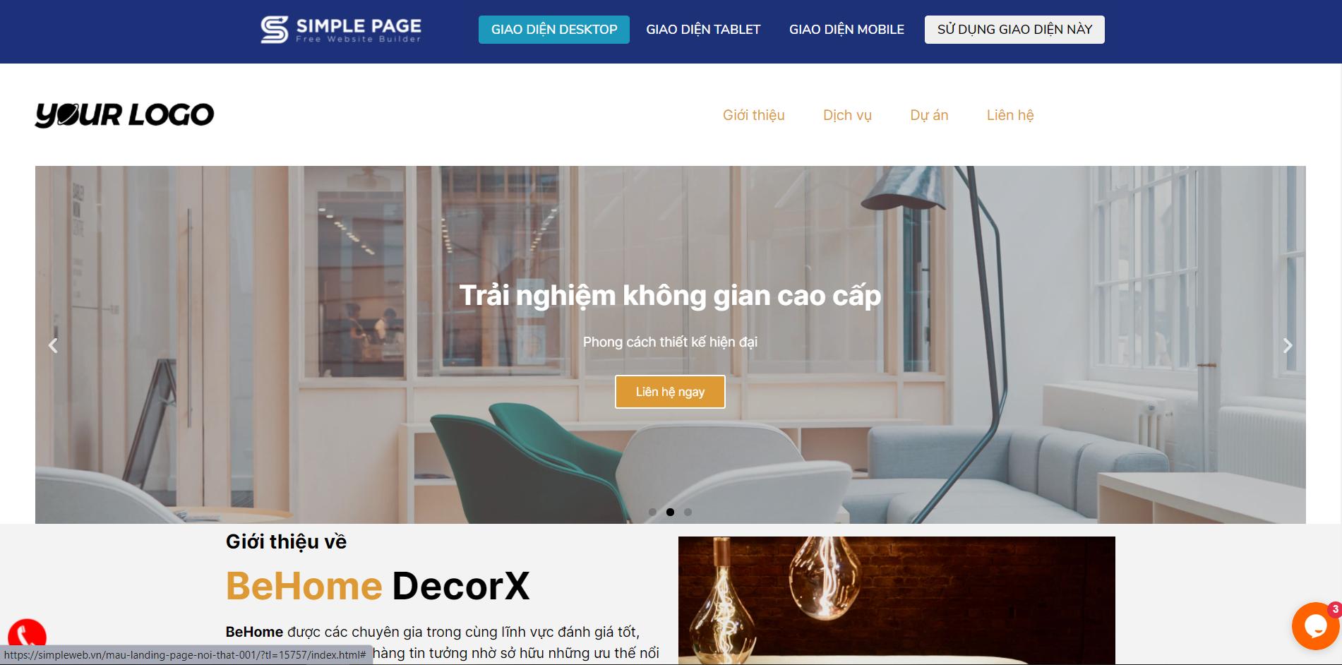 mẫu landing page thiết kế nội thất