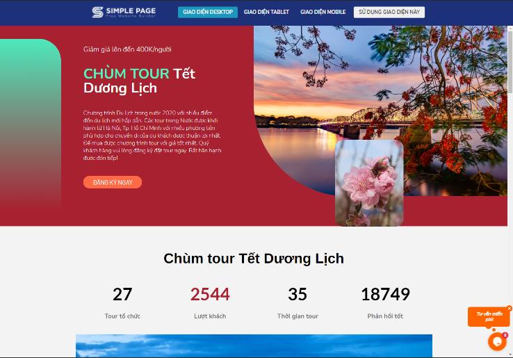 Mẫu landing page du lịch
