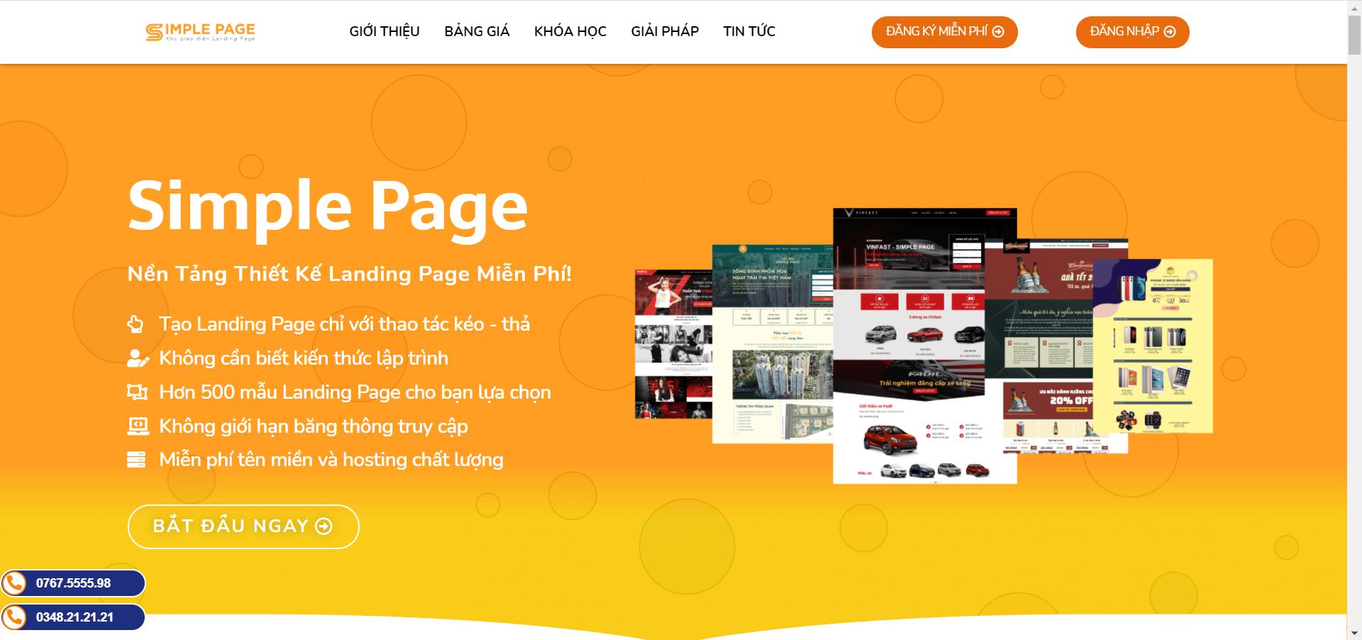 nền tảng thiết kế Landing Page miễn phí